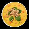 Фото к позиции меню Суп кукурузный со шпинатом и кедровыми орешками