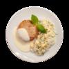 Фото к позиции меню Биточек куриный с гарниром из риса и омлета с соусом велюте