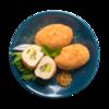 Фото к позиции меню Кнели мускатные из куриного филе с зеленым маслом