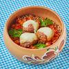 Фото к позиции меню Фрикадельки с гречкой и овощным соусом