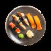Фото к позиции меню Суси-сет с крабом, копченым лососем и угрем