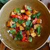 Фото к позиции меню Теплый салат с карамелизированным баклажаном