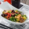 Фото к позиции меню Прессованные щёки с чёрными грибами и овощами