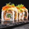 Фото к позиции меню Ролл запеченный с лососем