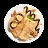 Фото к позиции меню Блины с бананом и пастой из орехов и какао