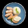 Фото к позиции меню Польпетте из креветок и крабовых палочек с коричневым рисом