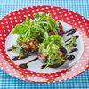 Фото к позиции меню Печеные баклажаны в аджике с моцареллой и помидорами
