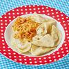 Фото к позиции меню Вареники с картофелем, шкварками и луком