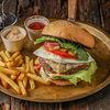 Фото к позиции меню Бургер Нью-Йорк с картофелем фри