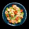 Фото к позиции меню Креветки отварные с гарниром из зеленого салата с сыром