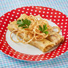 Фото к позиции меню Блины с печенью трески, яйцом и рисом