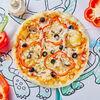 Фото к позиции меню Пицца с болгарским перцем, шампиньонами и маслинами Рафаэль