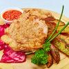 Фото к позиции меню Свинина на кости в кляре с картофелем по деревенски и маринованной капустой