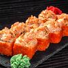 Фото к позиции меню Запечённый сырный ролл с копченым лососем