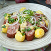 Фото к позиции меню Колбаса А-ля Морто с отварным картофелем