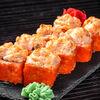 Фото к позиции меню Запечённый сырный ролл с лососем