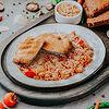 Фото к позиции меню Куриный шницель с рисом тяхан