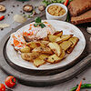 Фото к позиции меню Свинина по-французски с картофелем по-деревенски
