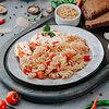 Фото к позиции меню Свинина по-французски с пастой, томатами и сыром