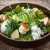 Фото к позиции меню Большой зеленый салат и страчателла с креветками