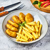 Фото к позиции меню Наггетсы куриные с картофелем фри