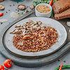 Фото к позиции меню Бефстроганов с гречкой и грибами