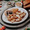 Фото к позиции меню Котлета а-ля по-киевски с картофелем по-деревенски