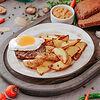 Фото к позиции меню Бифштекс с картофелем по-деревенски